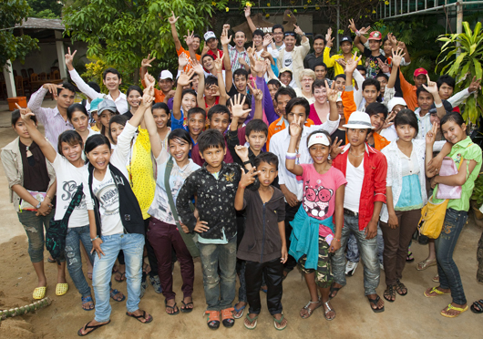 Large group of rappers in Cambodia.