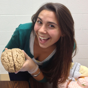 woman holding brain