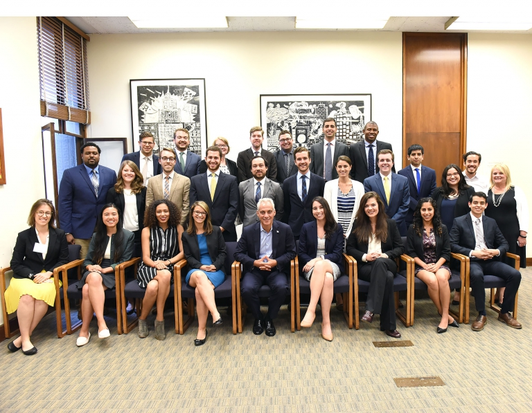 La Follette School students Eric Hepler (top row, fourth from left) and Chad Laurie (top row, fifth from left) participated in the Chicago Mayor's Office Fellowship Program, a highly competitive 11-week summer experience.
