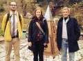 Sam Matteson, Susan Yackee and David McDonald at a park in Almaty. They traveled to Almaty first to talk with people at Kazakhstan National University, then went on to Nazarbayev University in Astana.