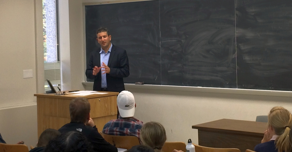 La Follette students discuss NCAA policies and final 4 picks with Andy Katz.