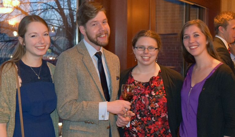 Recent Stone scholars Miranda Ehrlich, Eric Hepler, Beth Miller, and Sara Nowakowski gather at the La Follette School's alumni and friends reception February 2, 2017.