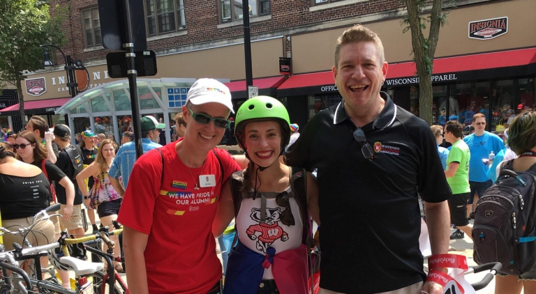 Abby Swetz, Mikhaila Caline, and Dave Nelson at Madison's 2018 Pride Parade.