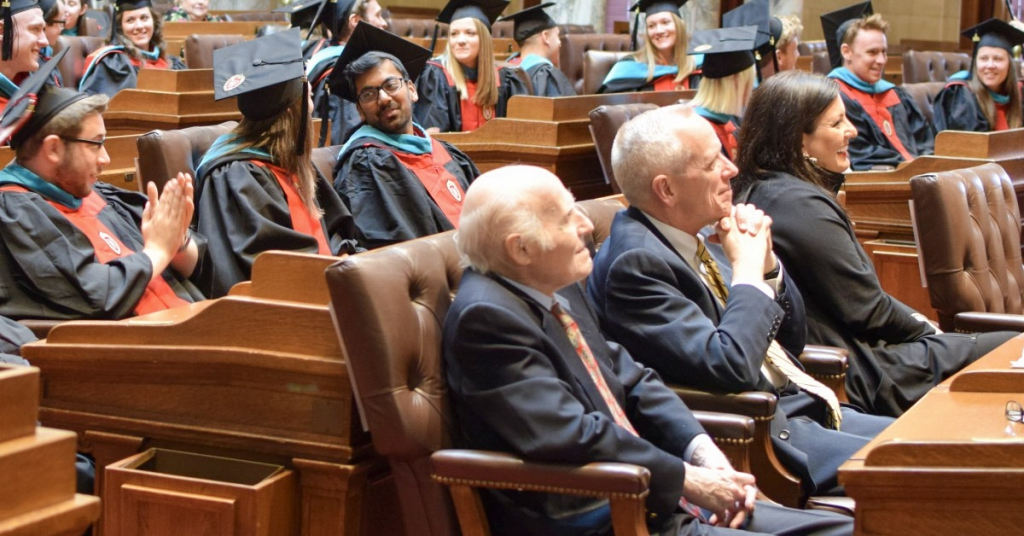 U.S. Sen. Herb Kohl, Chuck Pruitt, and JoAnne Anton attending the 2019 La Follette graduation ceremony