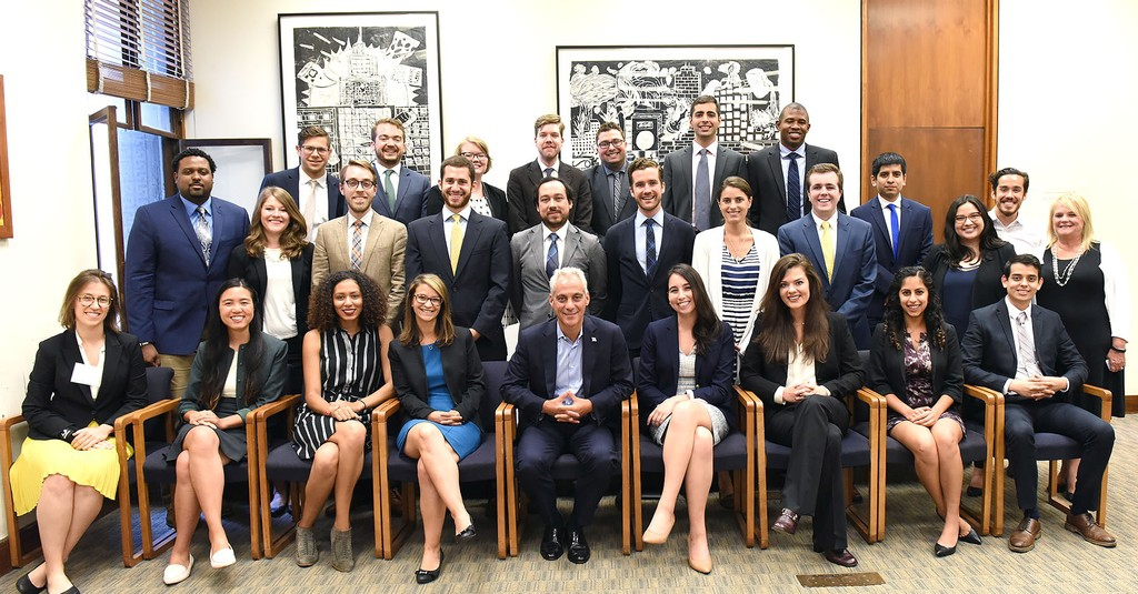 Eric Hepler (back row, fourth from left) was one of 25 graduate-level students selected for the competitive Chicago Mayoral Fellowship.