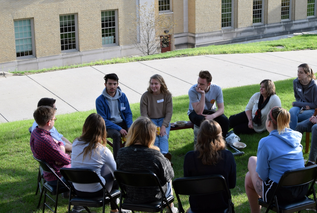 Students in the Accelerated Program chat outside the La Follette School on May 6, 2019.