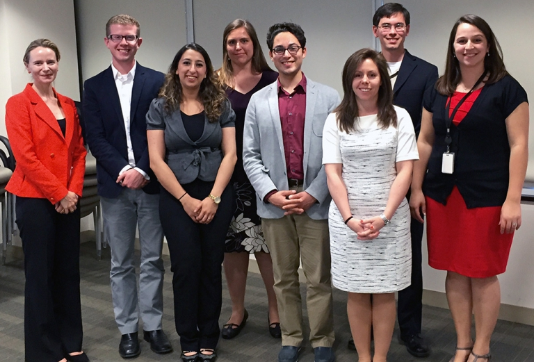 La Follette School students presented their research in Washington, D.C. From left: National Nuclear Security Administration Office of Radiological Security Director Maegon Barlow; students Alex Straka, Asma Easa, Andrea Traverse, and David Albino; Office of Radiological Security Regional Officer Kristina Hatcher; student Matthew Mayeshiba; and La Follette School alum Malika Taalbi of the National Nuclear Security Administration.
