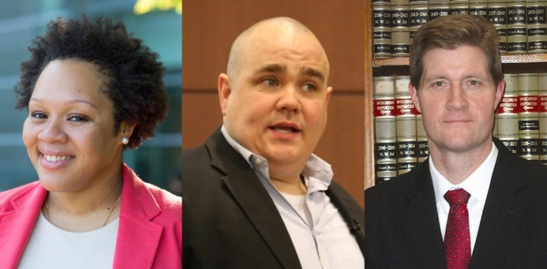 Panelists: Yamiche Alcindor of the New York Times, UW-Madison Professor of Sociology Mike Massoglia, and Milwaukee County District Attorney John Chisholm.