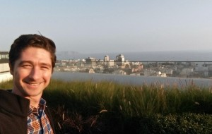 La Follette School student Jamey Anderson from the rooftop of the office building in Lima, Peru, where he did an internship in 2019 (on the one sunny day there!).